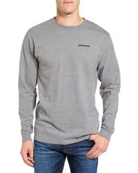 Patagonia | Gray P-6 Logo Organic Cotton T-shirt for Men | Lyst
