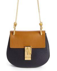 Chloé - Yellow 'mini Drew' Colorblock Calfskin Leather Shoulder Bag - Lyst