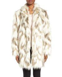 Tahari | Phoebe Multicolor Faux Fur Coat | Lyst