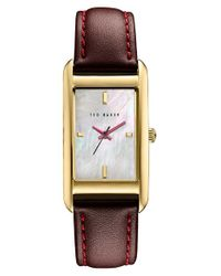 Ted Baker | Multicolor 'bliss' Rectangle Case Leather Strap Watch | Lyst