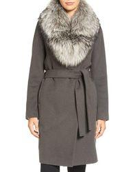 Elie Tahari | Gray Wrap Coat With Genuine Fox Fur Collar | Lyst