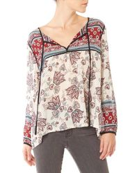 Sanctuary - Multicolor 'belle' Print Split Neck Boho Top - Lyst