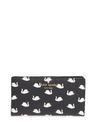 kate spade new york - Black 'hawthorne Lane Swans - Stacy' Wallet - Lyst