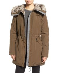 Vince Camuto | Multicolor Parka With Faux Fur Lined Hood | Lyst