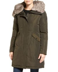 Vince Camuto | Green Faux Fur Trim Hooded Down & Feather Parka | Lyst