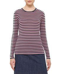 Akris Punto | Purple Bicolor Stripe Wool Sweater | Lyst