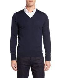 John Smedley | Blue 'bobby' Easy Fit V Neck Wool Sweater for Men | Lyst