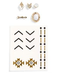 TOPSHOP - Multicolor Mismatched Stud Earrings & Temporary Tattoos - Lyst