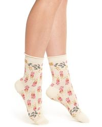 Urban Outfitters   Pink Free People Floral Ankle Socks   Lyst