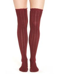 Urban Outfitters | Red Free People 'all For One' Pointelle Knit Over The Knee Socks | Lyst