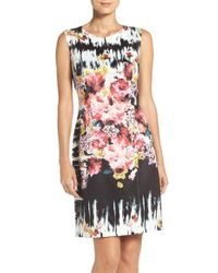 Betsey Johnson - Multicolor Floral Scuba Sheath Dress - Lyst