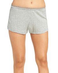 Skin - Gray Variegated Rib Knit Pajama Shorts - Lyst