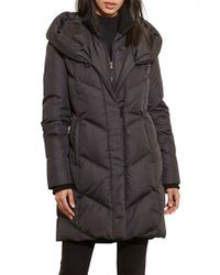 Lauren by Ralph Lauren | Black Quilted Hooded Coat With Knit Trim | Lyst