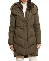 Lauren by Ralph Lauren | Green Quilted Hooded Coat With Knit Trim | Lyst