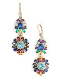 Marchesa - Blue Double Drop Earrings - Lyst