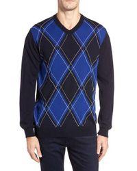 Bugatchi | Blue Argyle Wool Sweater for Men | Lyst