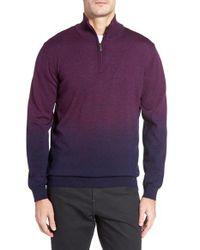 Bugatchi | Purple Ombre Quarter Zip Sweater for Men | Lyst