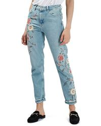 TOPSHOP - Blue Floral Embroidered Jeans - Lyst