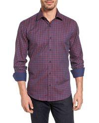 Bugatchi - Purple Shaped Fit Check Sport Shirt for Men - Lyst