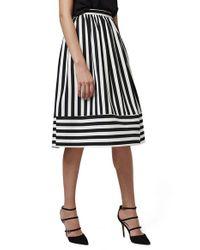 TOPSHOP - Black Horizontal Hem Stripe A-line Midi Skirt - Lyst