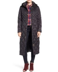 Ellen Tracy | Black Diamond Quilted Down Maxi Coat | Lyst