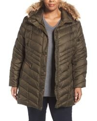Andrew Marc | Green 'renee' Chevron Quilted Coat With Faux Fur Trim Hood | Lyst