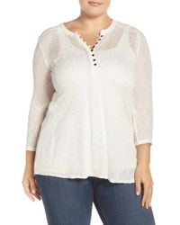 Lucky Brand | White Embroidered Yoke Mixed Media Henley Top | Lyst