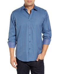 Bugatchi | Blue Classic Tall Fit Check Sport Shirt for Men | Lyst