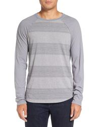 Michael Stars | Gray Variegated Stripe Long Sleeve T-shirt for Men | Lyst