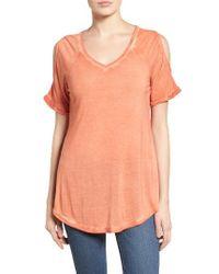 Caslon   Orange Caslon Cold Shoulder V-neck Tee   Lyst