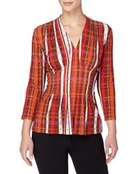 Catherine Malandrino | Red 'rea' V-neck Print Top | Lyst