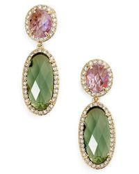 Jenny Packham - Green Double Drop Crystal Earrings - Lyst