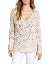 For Love & Lemons | Natural 'mulberry' V-neck Cotton Sweater | Lyst