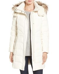 Cole Haan | White Water Repellent Down Parka With Faux Fur Trim | Lyst