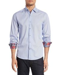 Stone Rose - Blue Trim Fit Microstripe Sport Shirt for Men - Lyst