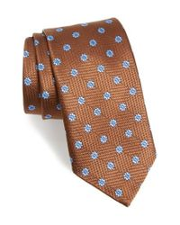 David Donahue | Brown Floral Medallion Silk Tie for Men | Lyst