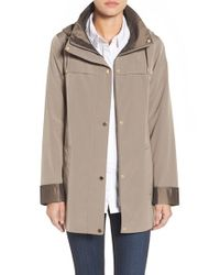 Gallery | Natural Silk Look Hooded Raincoat | Lyst