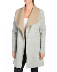 PAIGE | Gray 'lily' Drape Collar Wool Blend Coat | Lyst