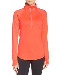 Under Armour - Orange 'layered Up' Water Resistant Half-zip Top - Lyst