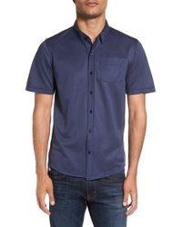 Travis Mathew | Blue 'hines' Trim Fit Wrinkle Resistant Sport Shirt for Men | Lyst