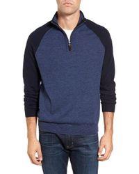 Tailor Vintage - Blue Raglan Quarter Zip Sweater for Men - Lyst