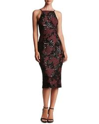 Dress the Population | Black Ashley Sequin Lace Sheath Dress | Lyst