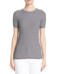 St. John | Gray St. John Sport Collection Rib Knit Short Sleeve Sweater | Lyst