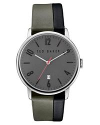 Ted Baker   Gray 'modern Vintage' Leather Strap Watch   Lyst