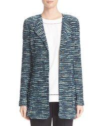 St. John | Blue Martinique Tweed Knit Jacket | Lyst