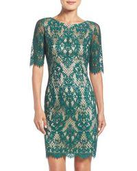 Eliza J - Green Lace Sheath Dress - Lyst