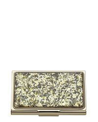kate spade new york | Glitter Business Card Holder - Metallic | Lyst