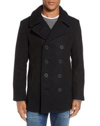 Schott Nyc | Black Embroidered Wool Blend Peacoat for Men | Lyst