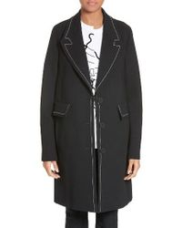 Stella McCartney | Black Marcelline Topstitch Double Face Wool Coat | Lyst