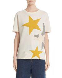Stella McCartney | Natural Star Applique Jersey Tee | Lyst